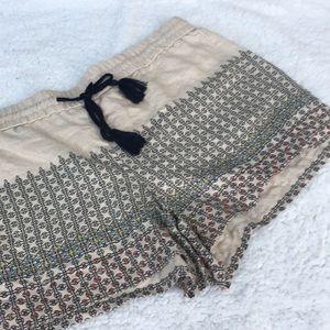LOFT Linen Shorts Beaded Boho Ecru Tan Soft Short
